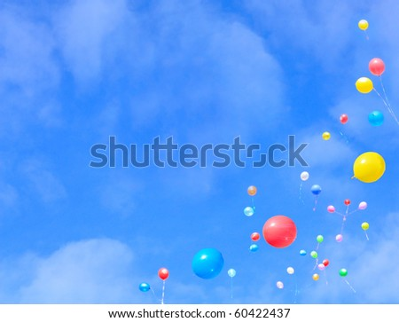 Balloons flying into the sky.