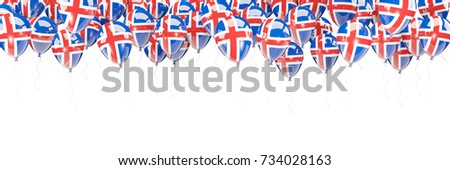 Balloons frame with flag of iceland isolated on white. 3D illustration #734028163