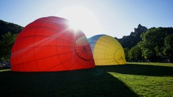 Balloons in Castelnaud on the Dordogne River, France, Europe