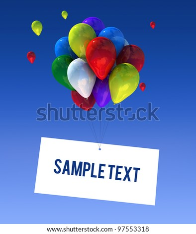 Balloons in the sky in 3D graphics sign writable.