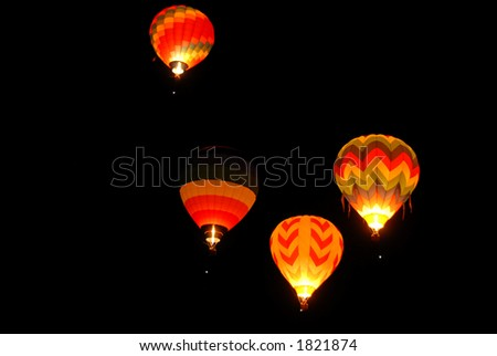Balloons lighting up the darkness, Reno, Nevada
