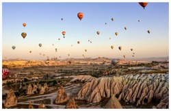 Balloons of capadocia, turkey, a beautiful place, worth a visit, where several balloons go up at the same time
