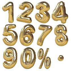 Balloons of numbers & percentage symbols presented in golden metallic style. Ideal for discount sale usage. Isolated in white background
