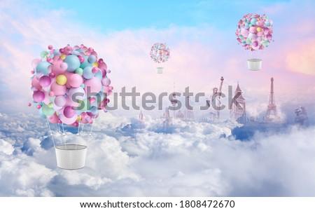 Balloons over a fantastic city