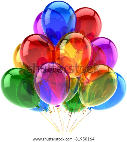 Balloons party happy birthday decoration multicolored translucent. Joy fun abstract. Holiday anniversary retirement celebration greeting card concept. Detailed 3d render. Isolated on white background