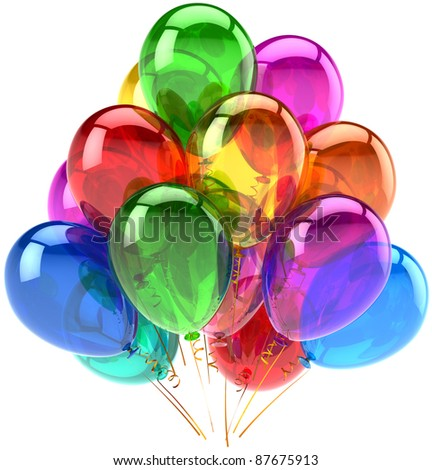 Balloons party happy birthday decoration rainbow multicolor translucent. Holiday anniversary retirement graduation celebrate life events concept. Fun joy icon. 3d render isolated on white background