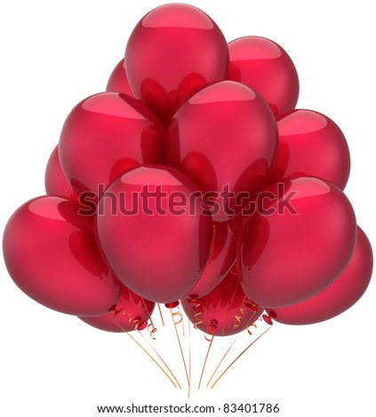 Balloons party happy birthday decoration red celebrate balloon. Anniversary retirement occasion life event graduation greeting card concept. 3d render isolated on white background