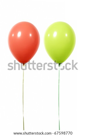 balloons red and green isolated on white background