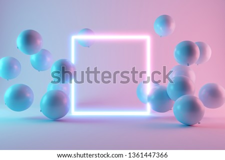 Balloons with neon lights on pastel colors background. 3d rendering