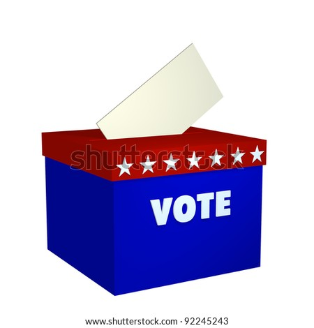 Ballot Box. Ballot box in red, white, and blue with ballot dropping in.  Isolated on a white background. Political