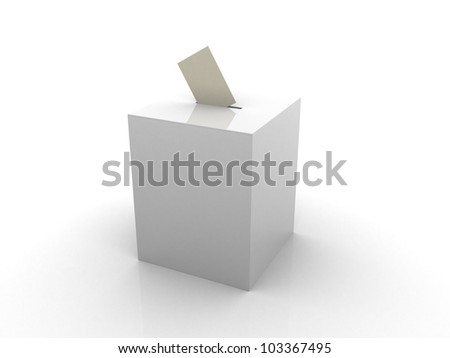 Ballot box isolated on white - 3d render illustration