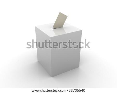 Ballot box isolated on white - 3d render illustration