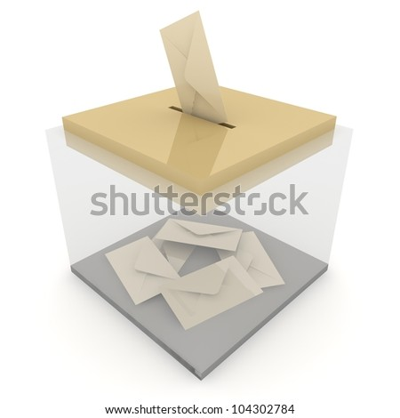 Ballot box with some votes. . Concept of voting / email / postage
