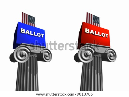 Ballot boxes in blue and red to represent the Democrats and Republicans sitting on columns. Isolated on a white background. Political