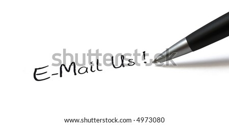 "Ballpen on white background. Showing ""E-Mail Us!"""