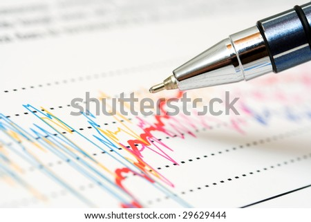 Ballpoint pen and stock market graphs.