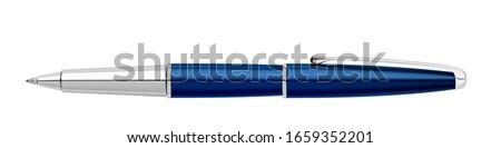 Ballpoint pen. Classic blue pen. Metal ballpoint pen. Realistic style. 3D style.