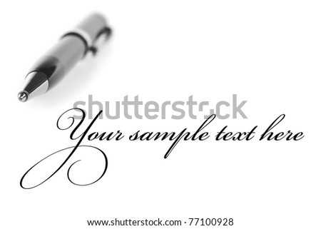 ballpoint pen on a white background - stock photo