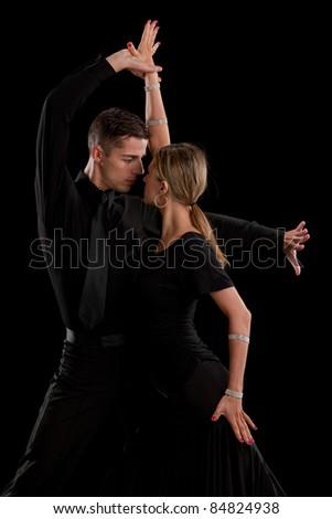 Ballroom Dancer Pair Dance Low Key Portrait on Black Background