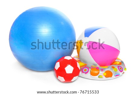 Balls and water toys isolated on white background.