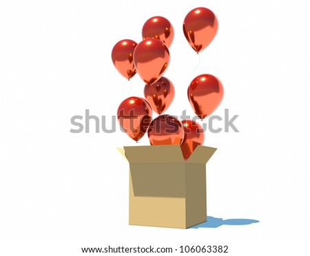 balls flying out of the box on a white background