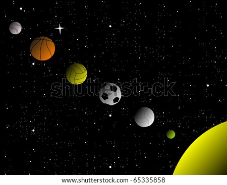 Balls from common sports arranged as planets in a solar system