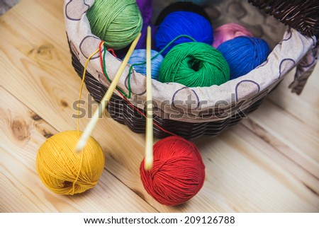 Balls Of Wool On Wooden Table #209126788