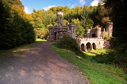 Ballysaggartmore towers and entrance in Waterford in Ireland Europe.