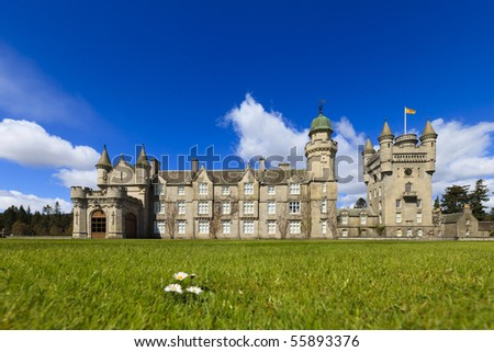 Balmoral Castle on a bright sunny day in spring