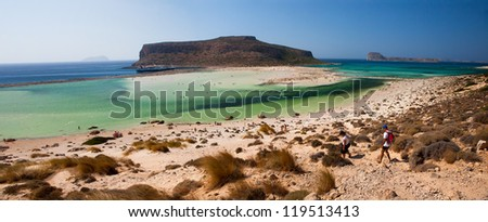 Balos Lagoon with Cap Tigani in the center (panoramic photograph taken from the island of Crete).
