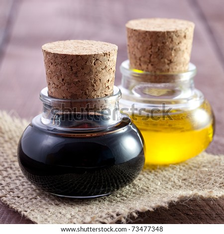 balsamic vinegar and oil in bottles