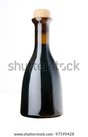 balsamic vinegar bottle isolated ot white - stock photo