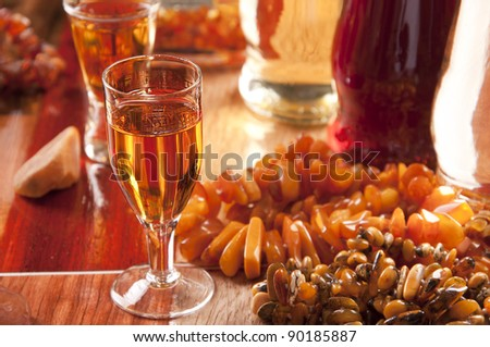 Baltic amber liqueur for high blood-pressure and rheumatism