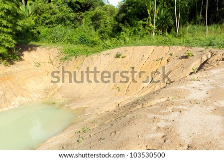 Baltic coast with eroded beach and landslide after The heavens opened