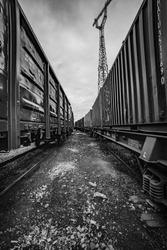 Baltic rail road wagons station