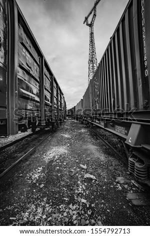 Baltic rail road wagons station Foto stock ©