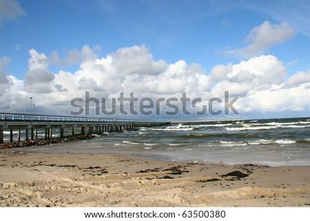 Baltic sea and bridge in Palanga, main resort in Lithuania