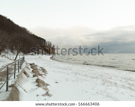 Baltic sea bay Gdynia cliff in Orlowo Poland. Beautiful winter landscape - stock photo
