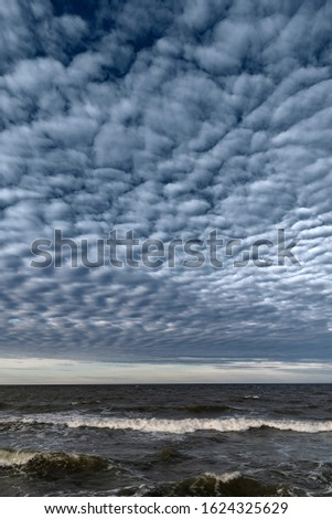 Baltic sea in cloudy and windy day.