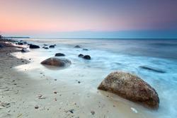 Baltic sea scenery at sunset, Poland