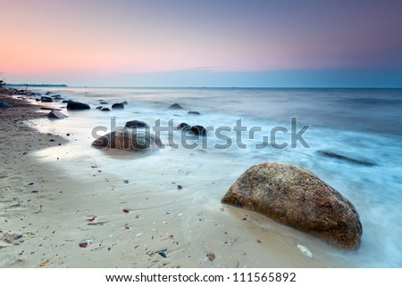 Baltic sea scenery at sunset, Poland