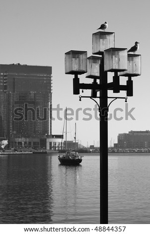 Baltimore in black and white - stock photo
