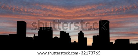 Baltimore Inner Harbor at sunset with beautiful sky illustration - stock photo