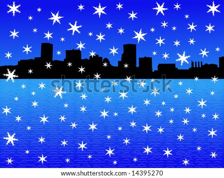 Baltimore Inner Harbor in winter with falling snow illustration