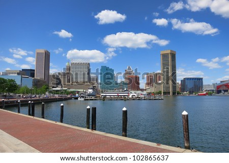 Baltimore Maryland inner Harbor scenic area and downtown skyline cityscape with excursion boats in port