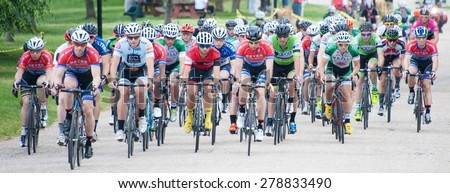 BALTIMORE, MARYLAND - MAY 17: Cyclists compete in the elite men's competition at BikeJam on May 17, 2015 in Baltimore, Maryland #278833490