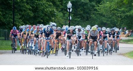 BALTIMORE, MARYLAND - MAY 20: Cyclists compete in the MABRA criterium championships at BikeJam on May 20, 2012 in Baltimore, Maryland