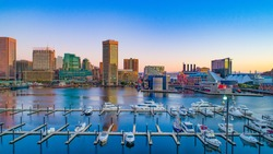 Baltimore, Maryland, USA Inner Harbor Skyline Aerial.