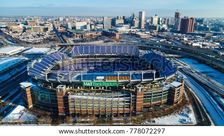 Baltimore, MD - December 16, 2017: The M&T Bank Stadium, home of the Baltimore Ravens, is a multi-purpose football stadium. #778072297