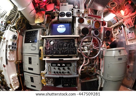 BALTIMORE, USA - JUNE 21 2016 - inside TORSK inside ii world war submarine view detail close up control panels weapons engines portholes #447509281